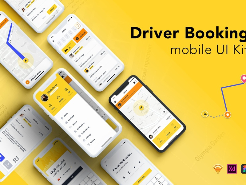 Driver Booking UI Kit for Taxi taxi driver booking app delivery booking mobile app web stock material mockup uikit vector elements bundle sell buy rent car