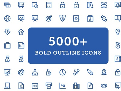 5000+ Bold Outline Icons Bundle