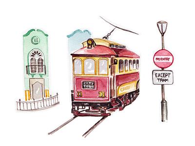 Christchurch Tram - Day #029 train tram newzealand travel watercolour watercolor illustration