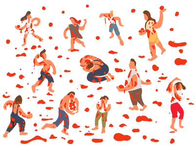 Tomato Fight culture spain drawing painting illustration tomato fight tomato