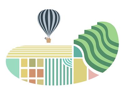 Patterns pattern landscape balloon travel sightseeing illustration