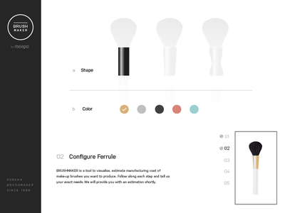 Brushmaker Customisation Page process wizard web design website