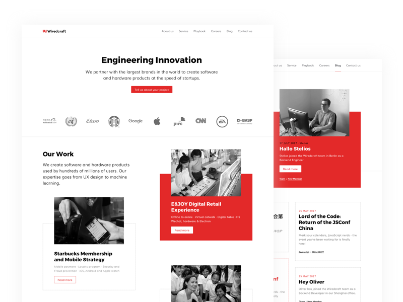 Wiredcraft.com redesign concept redesign branding agency homepage line dotted block red wiredcraft website