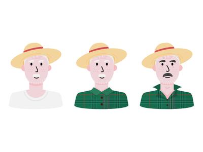 Farmer illustration collar up tartan hat moustache beard scottish avatar farmer