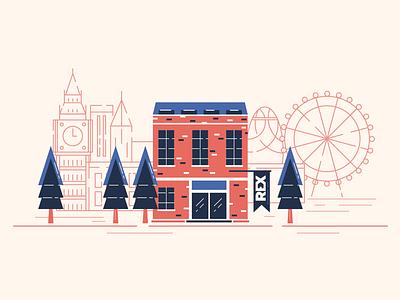 Office in London brick rex lab tree clock illustration london architecture