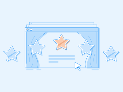 Stars curtain stage browser mouse google review review illustration star