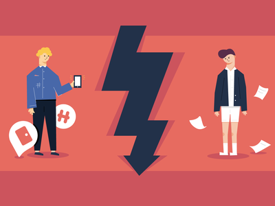 Downturn character illustrator abstract design face hair downturn economic avatar illustration