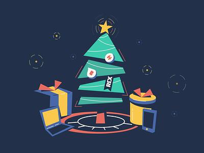 Christmas holiday sparkle phone laptop present christmas tree christmas illustration