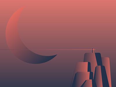 Mountain shadow lighting mood moon gradient mountain illustration