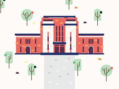 University road rock tree architechture design bomb abstract illustrator illustration