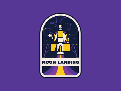 Badge illustration 50 moon landing moon walker moon space apollo 11 badge