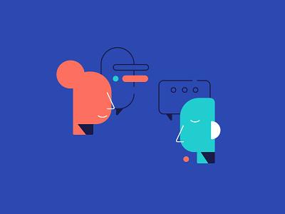 Conversation abstract speak talk sad happy thought speechbubble speech conversation human illustration