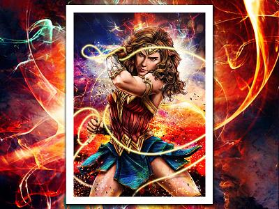 Princess of the Amazons digitalart art prints explosions ww84 girl power warriors illustration fan art movie lasso justice league power wonderwoman themyscira amazons princess gal gadot diana prince wonder woman