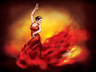 Flamenco realism character illustration vectorart vector adobeillustator digitalart red dress red dancing spain flamenco dancer dancer woman fire flame dance flamenco