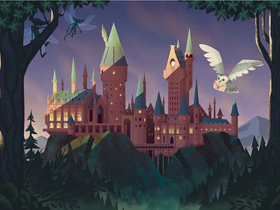 Hogwarts castle illustration fan art harry potter hogwarts