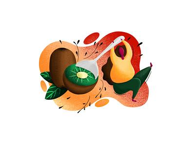 Kiwi Lover fruit illustration fruit kiwifruit girl kiwi painting drawing digital illustration digital painting digitalart illustrations illustration art gradient color gradient gradient design illustration illustrator