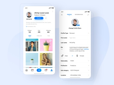 Freedom: Social Application profile page mobile app design ux uxdesign ui ux design ui design ui onexcell visual interface application minimal social app ios design interface clean application app design app
