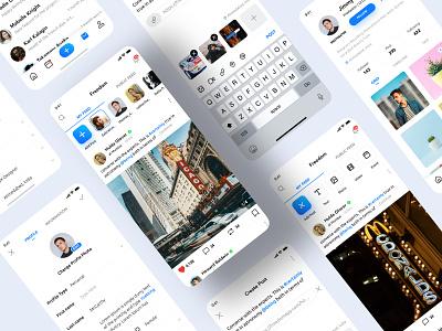 Freedom :: Social App chat visual interface design wireframe uiux design ui desing social app sketch onexcell mobile app design minimal ios app design interface dashboard profile upload feed app design app