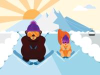 Ski Bear and Squirrel