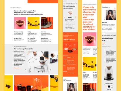 Landing page for coffeemaker shop