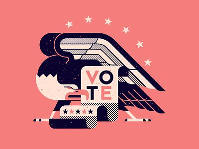 VOTE 2020 election harris biden america oh god please vote bald eagle vote halftone texture vector illustration