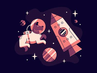 Vectober 16: Rocket stars dog space laika rocket vectober2020 vectober inktober2020 inktober halftone vector illustration