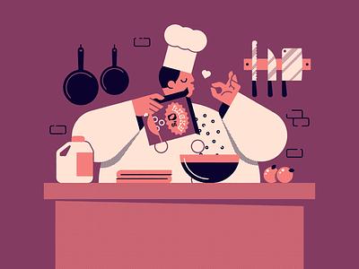 Vectober 22: Chef lazy dinner cereal kitchen vectober2020 vectober inktober2020 inktober chef halftone vector illustration