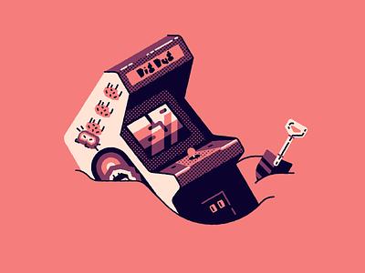 Vectober 24: Dig video games arcade dig dug vectober2020 vectober inktober2020 inktober dig texture vector halftone illustration