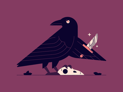 Vectober 30: Ominous skull knife raven ominous vectober2020 vectober inktober2020 inktober vector illustration