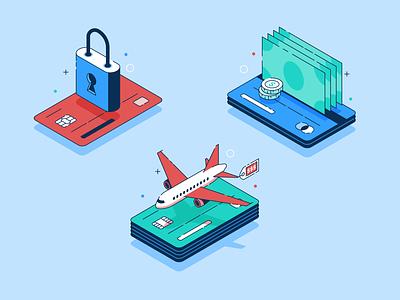B-B-B-Bennies (and a Jet) benefits credit card credit finance isometric vector icon illustration design