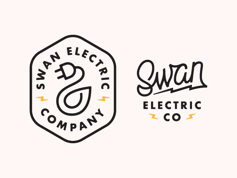 Swan Electric Co. swan electric script typography type lockup logo lettering design branding badge