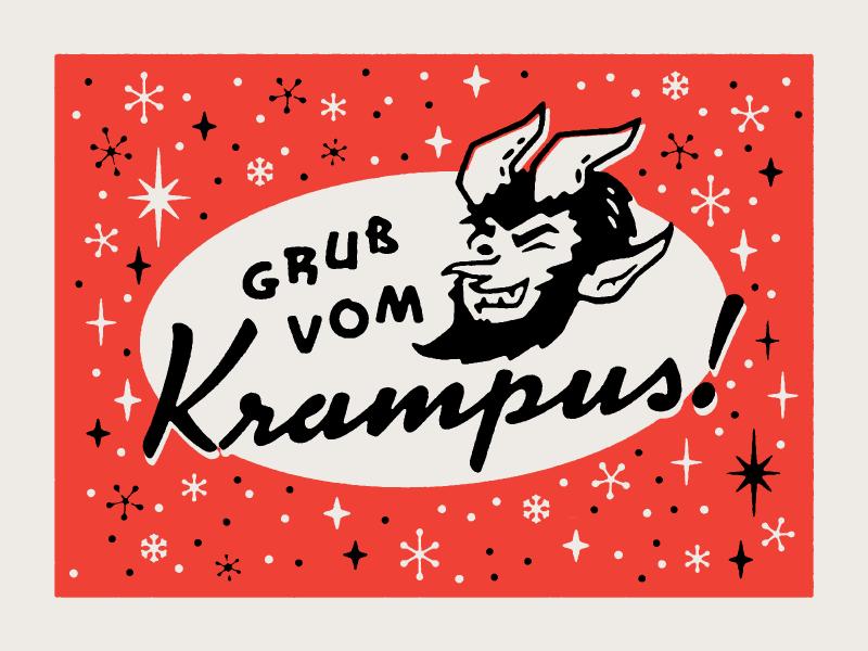 Gruss vom Krampus! atomic mid century holiday greeting card krampus illustration 1940s