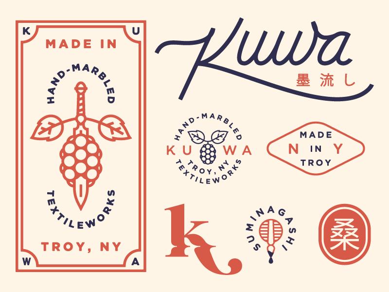 Kuwa Branding Exploration 2 illustration icon suminagashi type textiles marbling logotype logo design identity branding