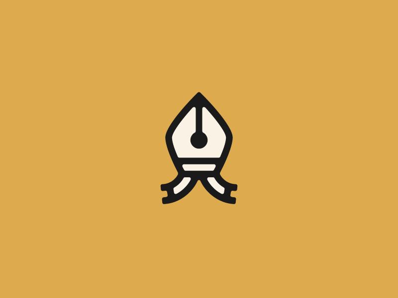The Mitre Writer writing religion logo nib pen bishop