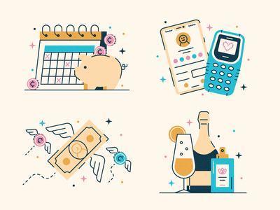 Lifestyle Creepin' money sparkles treat yoself lifestyle creep finance flat vector design icon illustration