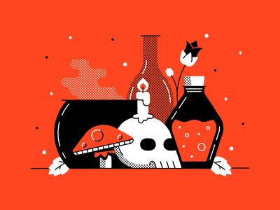 Just Witch Things mushroom design nightshade spooky illustration vector halftone cauldron potion skull witch halloween