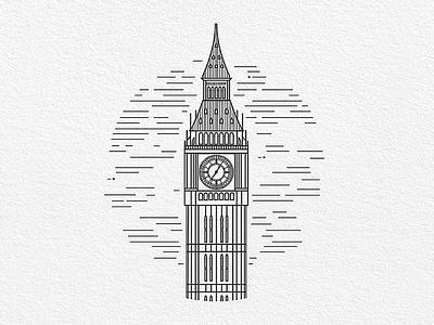 London big ben london minimal vector logo flat icon ux ui design illustration