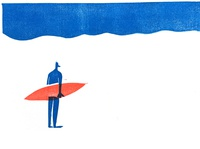 surfer linocut