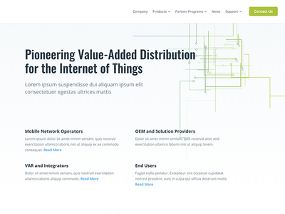 IoT Company Home Page Concept hero animation lines home