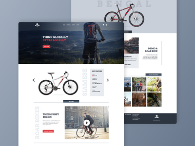 Roar Bikes Web Design wireframe photoshop figma adobe xd photography simple monochrome gradient clean bussiness bicycle bike ui ux web website minimal graphic design