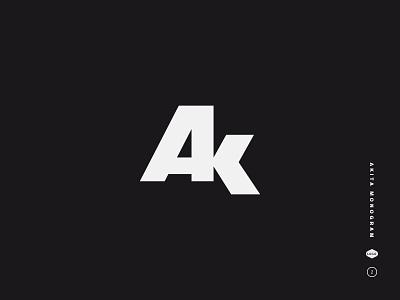 Akita Monogram black and white a type lockup initials ak symbol letters monogram mark logo