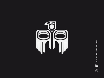 Mt. Baker Sesh-Up mt. baker black and white mark icon symbol bird eyes hand logo illustration native american