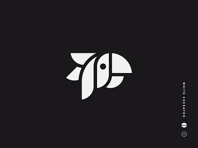 White Cockatoo jungle beak head symbol feather bird mark logo parrot icon geometric black and white