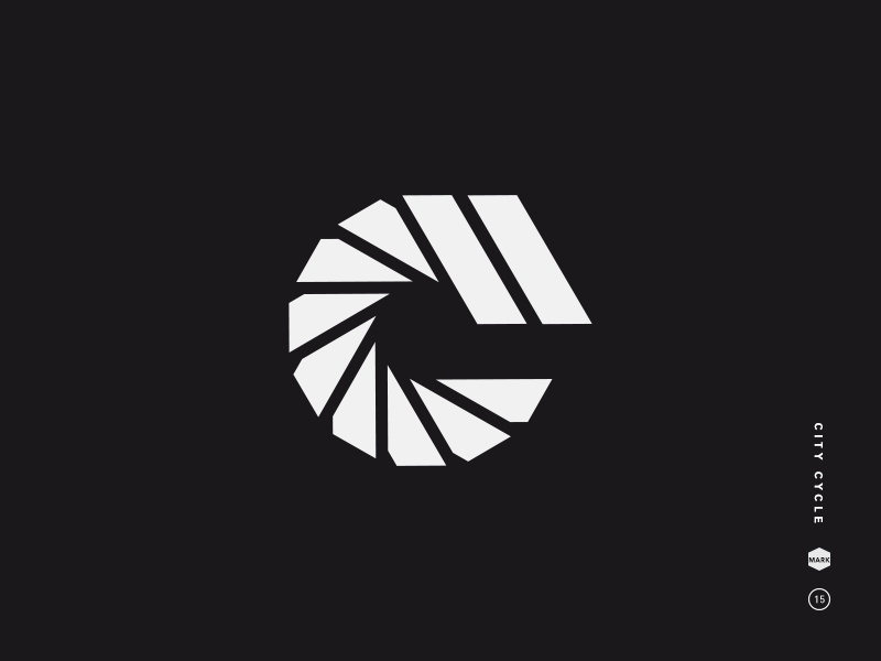 City Cycle spiral bike type shutter cycle spokes c symbol letter mark logo black and white