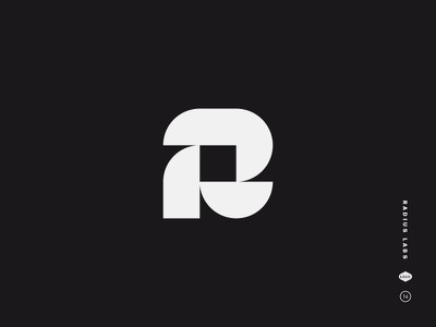 Radius Labs black and white logo mark letter symbol abstract geometry circle round type r spiral