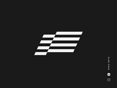 Flag Fold parallelogram slant bars rectangle stripes fold banner wave flag mark logo black and white