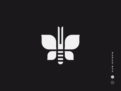 Midnight Moth butterfly illustration logo bug wings moth symbol icon mark black and white insect antennae