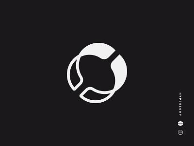 Hyperloop black and white logo mark icon symbol loop hyper ring tube travel hyperloop abstract