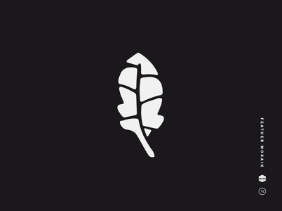 Feather Mosaic black and white logo mark icon symbol feather mosaic beach leaf fractured shell organic