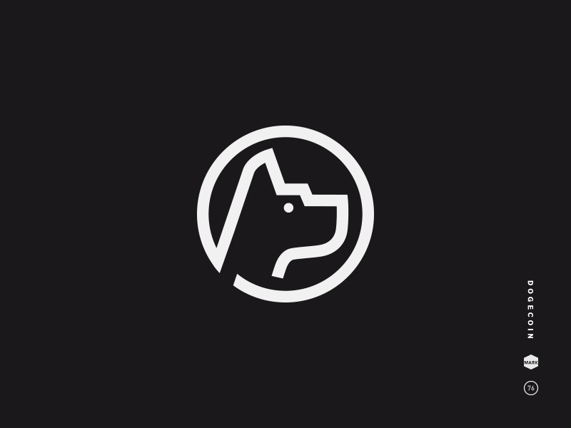 Dogecoin black and white logo mark icon symbol currency dog doge coin cryptocurrency bitcoin blockchain